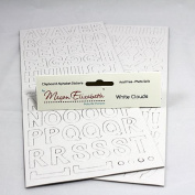 WHITE CLOUDS CHIPBOARD ALPHABET STICKERS Megan Elizabeth New