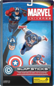 Marvel Slap Sticks Captain America Reusbale Gel Stickers, 13cm Character and 3 6.4cm Icons