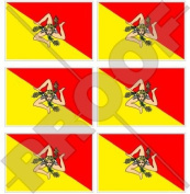 """SICILY Sicilian Flag ITALY 40mm (1,6"""") Mobile Cell Phone Vinyl Mini Stickers, Decals x6"""