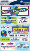 Reminisce Signature Series World Traveller Dimensional Scrapbook Stickers