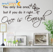 Toprate(TM) You Only Live Once Life Inspirational Wall Quote Vinyl Art Decal Sticker Home Decor