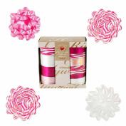 Designer Animal Print Gift Bow and Ribbon Set - 4 Bows Plus 160 ft of Total Ribbon - Pink Zebra