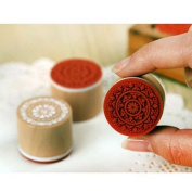 Fenheus 6pcs Assorted Retro Vintage Floral Pattern Round Wooden Rubber Stamp Scrapbook