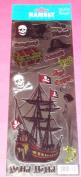 Hambly Studios 1 Sheet of Silver Foil Pirate Stickers (16 stickers)