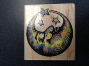 Rubber Stampede Wood Mounted Stamp A260E- Sleepy Moon