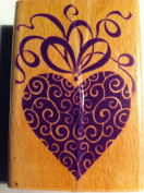 Rubber Stamp Heart with Ribbons