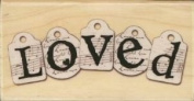 """""""Loved"""" Love Tags Rubber Stamp by Rubber Stampede"""