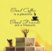Toprate(TM) Good Coffee Friends Wall Vinyl Sticker Decal Quote Saying Home Room Decor