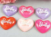 20x Heart Glitter Resin Cabochon-flatback-4colors