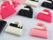 20pcs Handbags Resin Flatback Buttons with 4 Shining Rhinestones