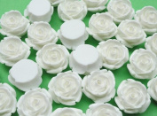 50x Resin Rose Backflat Appliques/flatback Baby Craft -White
