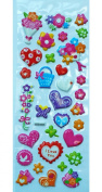 Jazzstick Puffy Dimensional Cute Valentine Flowers & Heart Mini Decorative Sticker