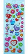 Jazzstick Puffy Dimensional Cute Valentine Flowers & Heart Mini Decorative Sticker