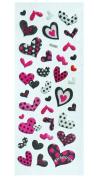Jazzstick Puffy Dimensional Glitter Pink & Black Fun Valentine Mini Heart Decorative Sticker