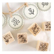 12 Kinds Korea DIY Decoden Wooden Stamp Set Rubber Stamps - Flowers