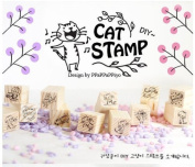 12 Kinds Korea DIY Woodiness Rubber Stamp -Cat Stamp