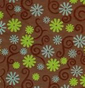 Flocked Velvet Paper- Blue & Green Flowers on Brown 60cm x 80cm Sheet