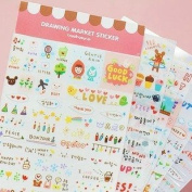 ONOR-Tech 6 Sheets Decorative Scrapbooking Craft Sticker Diary Album Sticker Adhesive