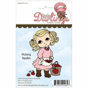 Cutie Pies Unmounted Rubber Stamp-Picking Apples