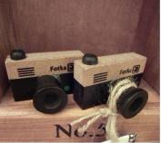 2 Pcs Wooden Rubber Stamp - Vintage Style - Camera Stamp
