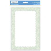 The Paper Company, 2009215, Green Brocade 6 by 9 Social Notecard and Envelope, 8 Cnt