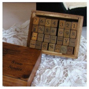 Wooden Rubber Stamp Box - Vintage Style -Diary Stamps 28 Pcs Number Stamp