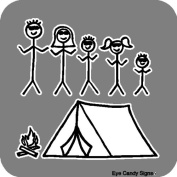 Camping Family Stick People Car Decals Graphics Stickers