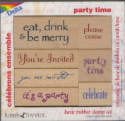 Rubber Stampede Party Time Celebrations 7 Wood Handle Stamp Set