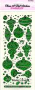 Retro Baubles Green Sparkle Scrapbook Stickers