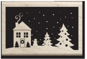 House and Tree's on a Hill Snowy Night Wood Stamp