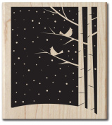 Two Birds on a Tree Snowy Night Wood Stamp