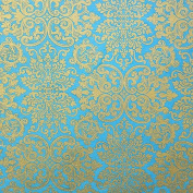 Nepalese Mandchou Printed Paper- Turquoise 50cm x 80cm Sheet