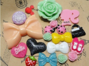20 Pcs Resin Different Styles in Different Colours Flatback Scrapbooking Button