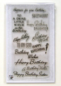 Happy Birthday Sweetheart (10cm x 18cm ) Clear Stamps Sheet / Vintage Greetings Wishes Retro