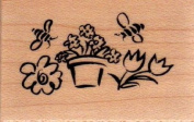 Buzzing Bees Wood Mounted Rubber Stamp