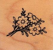 Flower Sprig Wood Mounted Rubber Stamp