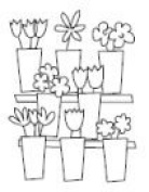 Flower Stand Wood Mounted Rubber Stamp