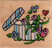 Hat Box Wood Mounted Rubber Stamp