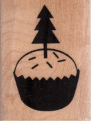 Holiday Cupcake Wood Mounted Rubber Stamp