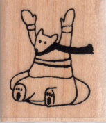 Inner Tubing Bear Wood Mounted Rubber Stamp
