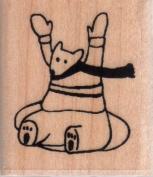 Inner Tubing Bear Wood Mounted Rubber Stamp