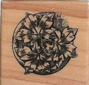 Ornate Leaf Circle Wood Mounted Rubber Stamp