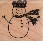 Plaid Snowman Wood Mounted Rubber Stamp