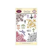 JustRite Papercraft Clear Stamp Set, 10cm x 15cm , Ornate Corners, 13-Piece