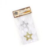 Zucker Feather Products Feather Stickers, Glitter Stars, Gold/Silver/White