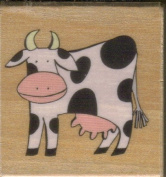 """Bessie"" Cow Rubber Stamp on Wooden Block"