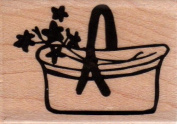 Basket of Flowers Wood Mounted Rubber Stamp