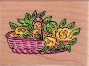 Basketful of Rosies Wood Mounted Rubber Stamp