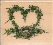 Heart Wreath with Nest Sandi Gore Evans Wood Mounted Rubber Stamp