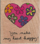 You Make My Heart Happy Wood Mounted Rubber Stamp